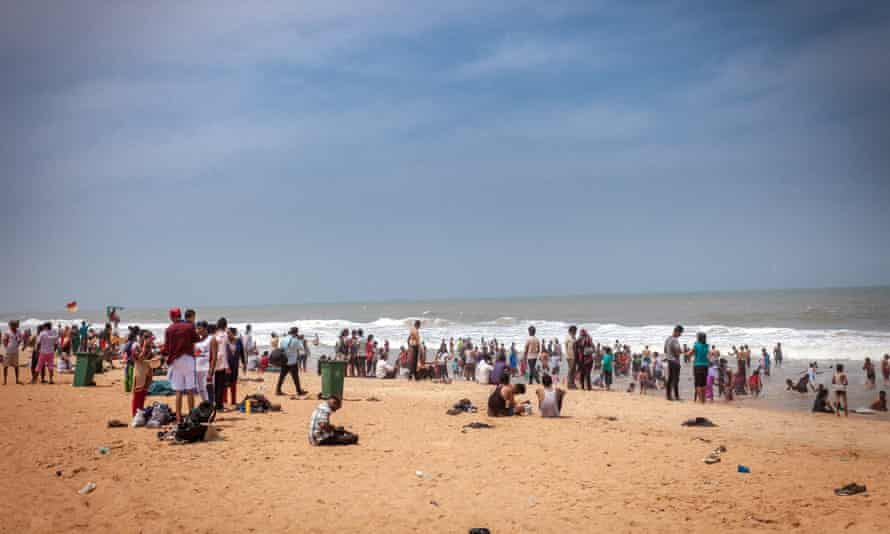 The crowded beach at Calangute, Goa.