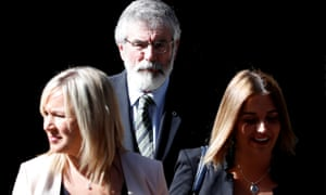 Gerry Adams and Michelle O'Neill (left) leaving No 10 with a colleague after meeting Theresa May.