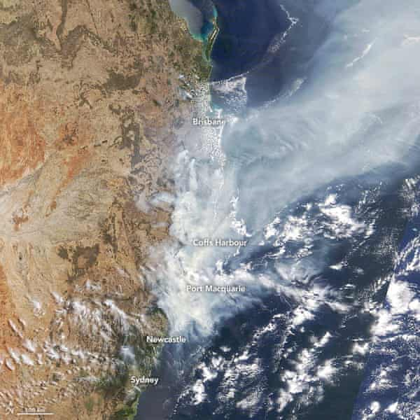 A photo of eastern Australia released by the Nasa Earth Observatory.