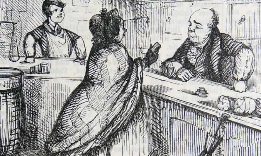 Woman complaining to the grocer that he has sold her coffee adulterated with cheaper chicory in a cartoon from Punch, London, 1852.