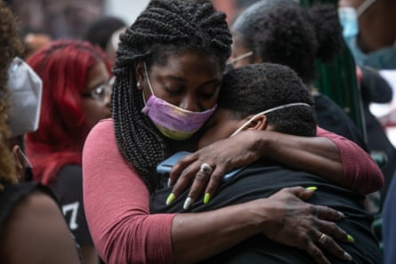 Friends and family mourn the death of Conrad Coleman Jr following his funeral service on 3 July 2020 in New Rochelle, New York.