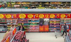 An aisle at an Asda supermarket.