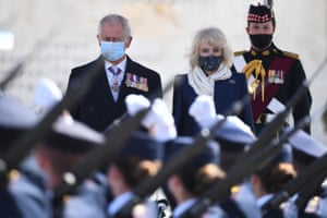 The Prince of Wales and the Duchess of Cornwall observe a military parade in Athens, Greece