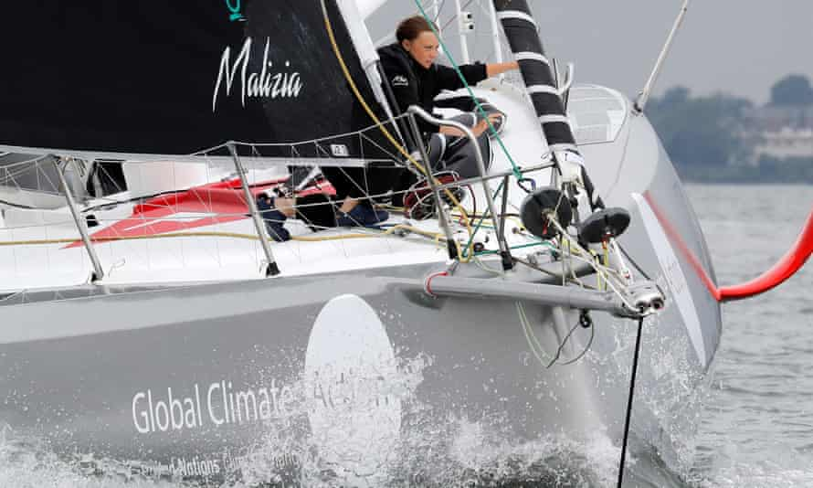 Greta Thunberg sails on the Malizia II racing yacht in New York Harbor as she nears the end of her first trans-Atlantic crossing.