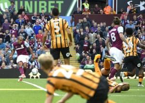 Gabriel Agbonlahor of Aston Villa scores the opening goal.