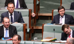 Tony Abbott and Kevin Andrews during question time in the House of Representatives in Canberra this afternoon, Friday 30th November 2015