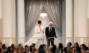 Karl Lagerfeld with model Kendall Jenner at the end of the show.