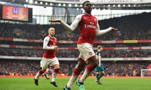 Danny Welbeck celebrates his winner, minutes after firing over from point-blank range.