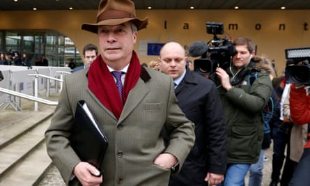 Brexit campaigner Farage leaves a meeting with EU's chief Brexit negotiator in Brussels