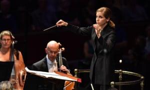 Crisp, efficient accompaniment … Karina Canellakis conducts the BBC Symphony Orchestra the Royal Albert Hall, London.