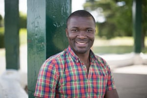 Frederick Kkonde , a refugee from Uganda who now works for the NHS.
