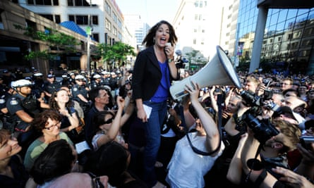 Naomi Klein addresses 3,000 people outside Toronto's police headquarters during a demonstration over the arrest of protesters during the G20 summit in 2010.