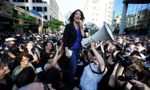 Naomi Klein speaks at a protest during the G20 summit in Toronto, 2010.
