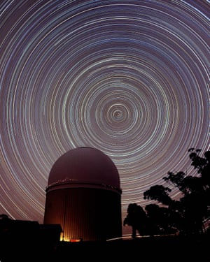 Star trails around the south celestial pole above the Siding Spring Observatory in the Warrumbungle national park, NSW