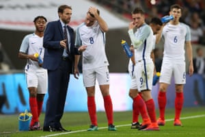 Gareth Southgate gets his instructions across during England's friendly against Spain