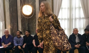 A model wears one of Beckham's creations at the show