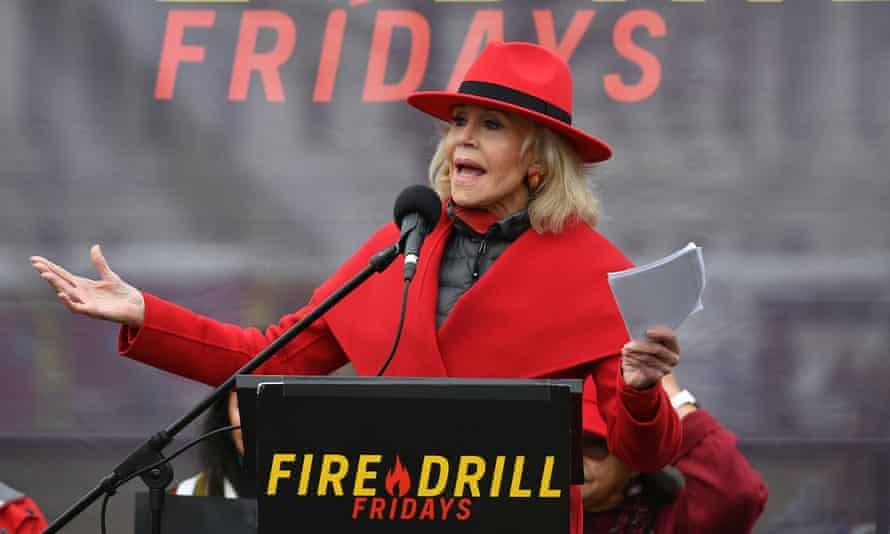 Jane Fonda speaks during a climate rally on the grounds of the US Capitol in Washington DC, on 3 January.