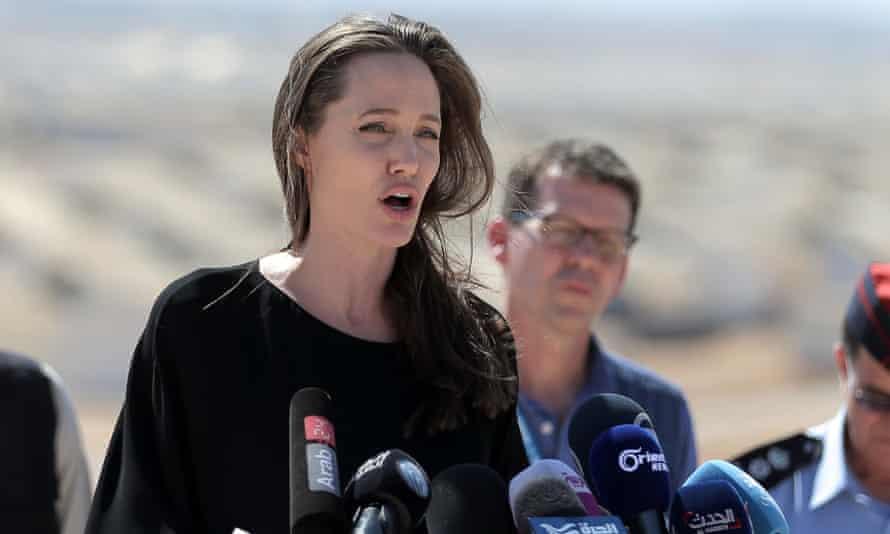 Redefining female celebrity … Jolie talking at a Syrian refugee camp, September 2016.