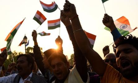 Indian demonstrators shout slogans against Pakistan in New Delhi on Sunday after Thursday's bombing in Kashmir.