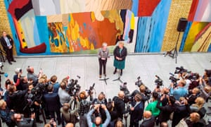 Theresa May and her Norwegian counterpart Erna Solberg meet the press on the sidelines of a session of the Nordic Council