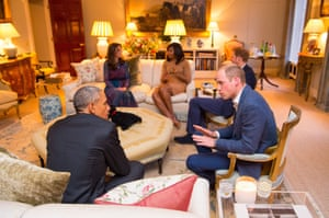 Prince William and Barack Obama engaged in discussion, while the Duchess of Cambridge, Michelle Obama and Prince Harry talk in the background.
