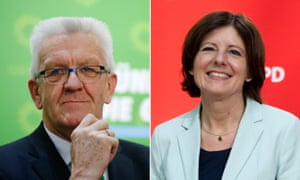 Winfried Kretschmann (left) and Malu Dreyer won in their respective states in Sunday's elections.