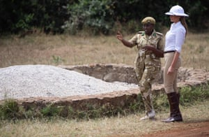 Melania Trump talks with Park Manager Nelly Palmeris at the Nairobi National Park