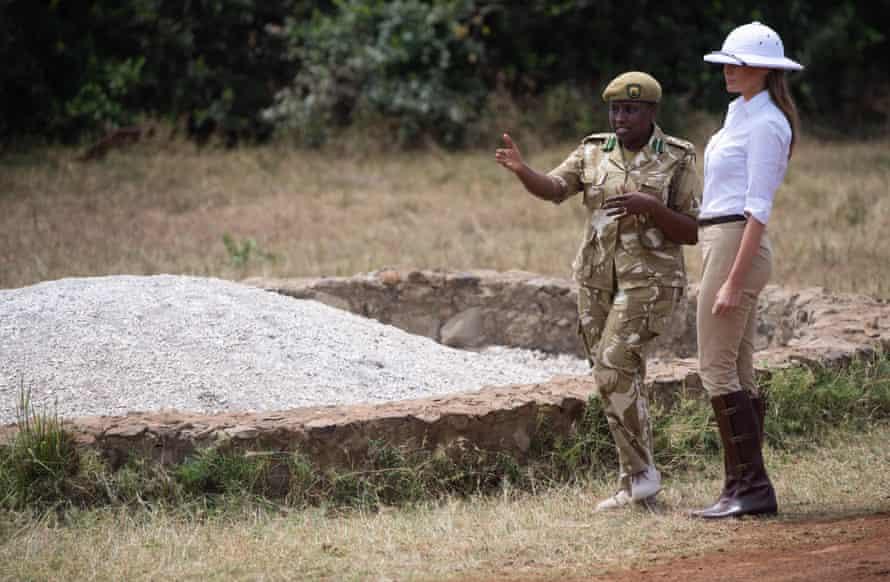Melania Trump talks with Park Manager Nelly Palmeris at the Nairobi National Park