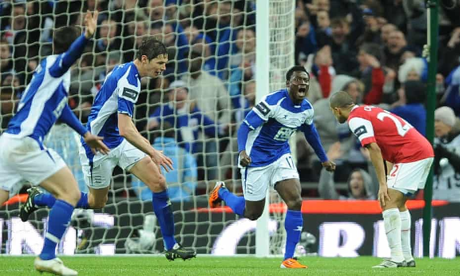 Obafemi Martins celebrates after scoring the winner for Birmingham City against Arsenal in the League Cup final in 2011.