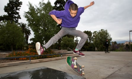 A skate boarders at Hollenbeck Park, where an opera performance was disrupted by local campaigners.