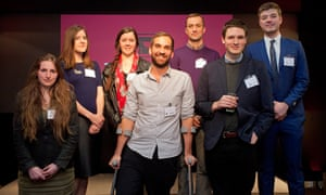 The finalists at the 2015 Observer/Anthony Burgess prize ceremony last week, clockwise from back row left: Iris Veysey, Madeleine Pettit, Tom Startup, Scott Wilson, Tom Evans, Ed Cripps and the winner, Leah Broad.