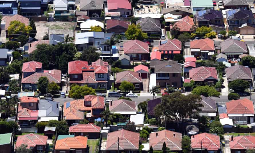 An aerial view of houses in Macot in Sydney, Australia, 26 December 2018.