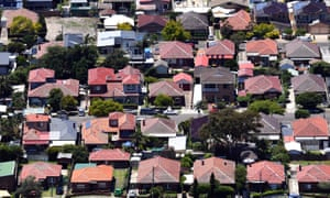 An aerial view of houses in Mascot in Sydney. Householders are not getting the income growth or wealth accumulation needed to allow the economy to expand.