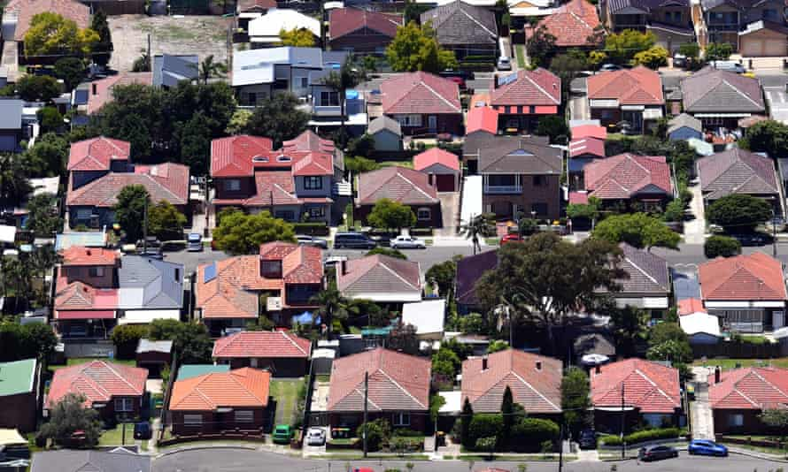 An aerial view of houses in Mascot in Sydney, Australia, 26 December 2018.
