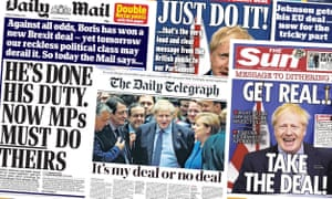 Front pages of the UK Papers on Friday 18 October 2019 after Boris Johnson secures a deal with the EU, with only approval from British MPs standing between him and a certified Brexit deal prior to the October 31 deadline.