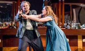 Nicholas Pallesen (Rigoletto) and Sydney Mancasola (Gilda) in Verdi's Rigoletto at the London Coliseum.
