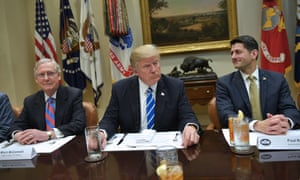 Donald Trump meets with the Republican House and Senate leadership, including Mitch McConnell and Paul Ryan, at the White House.