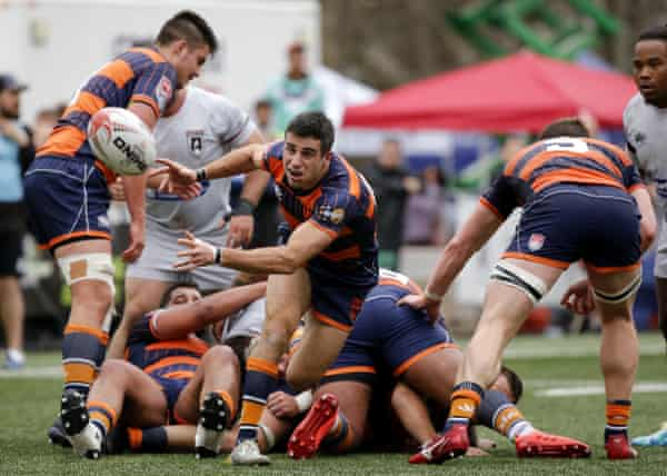 Mike Petri passes the ball from the back of a ruck against Rugby ATL.
