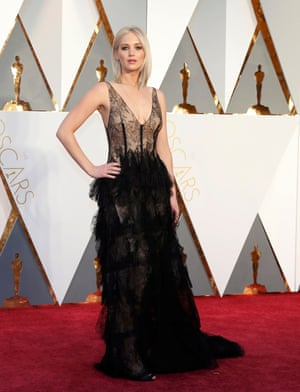Jennifer Lawrence in black lace Dior.