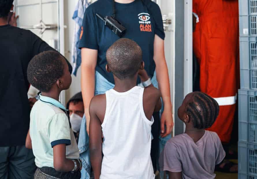 Children on board the Sea-Eye rescue ship.