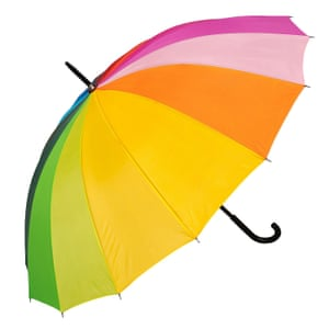 Sing in the rainIt's an inevitability that it is going to tip it down, so stick it to the sky with a myriad of rainbow hues. This brolly is guaranteed to make you, and everyone around you, smile. Umbrella, Brollied.com, £10.95.