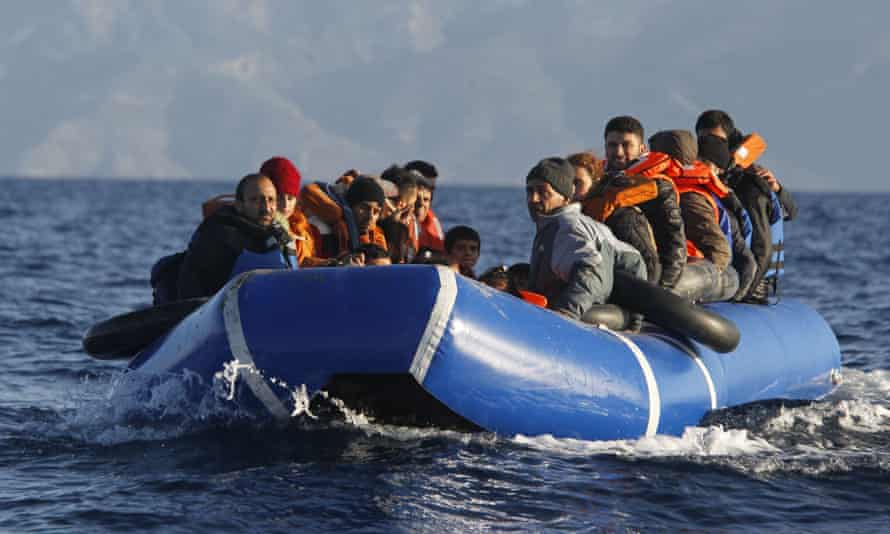 Refugees in the Aegean sea between Greece and the Turkey at the beginning of March