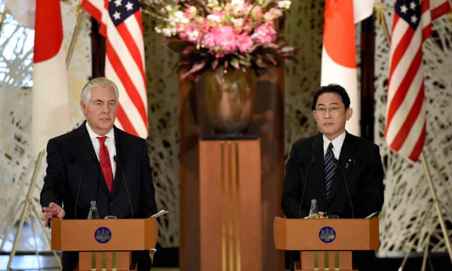 US secretary of state Rex Tillerson (left) with his Japanese counterpart Fumio Kishida in Tokyo at the start of his trip.
