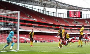 Ben Foster and his Watford defence can only watch as Pierre-Emerick Aubameyang makes it 3-0 to Arsenal at the Emirates.
