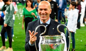 Three and easy: Zidane with the European Cup after the victory over Liverpool last year, a third successive triumph.