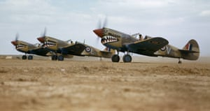 Kittyhawk IIIs of the 112 Squadron preparing to take off at a desert airstrip in Tunisia in April 1943