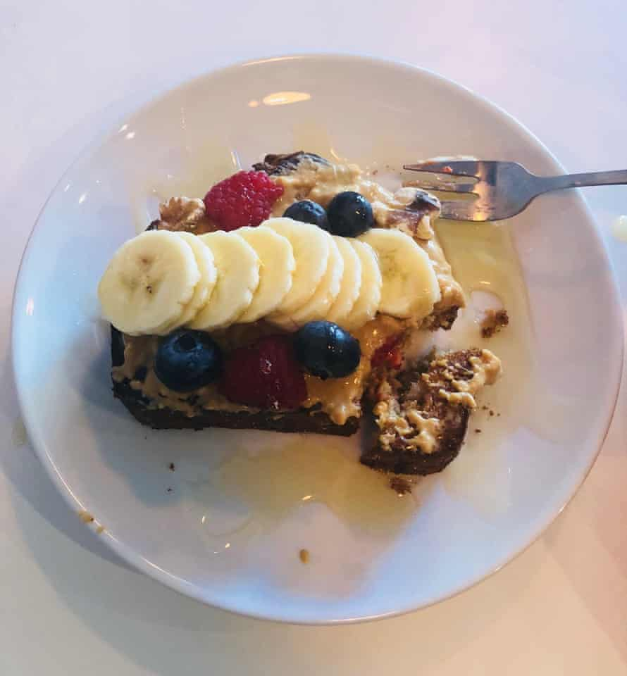 Banana bread festooned with peanut butter, honey and berries at Fred's in Forest Gate, London – E7's cafe scene is gathering true momentum