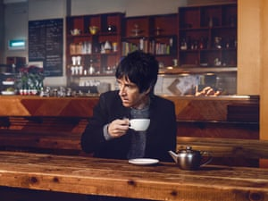 Musician Johnny Marr  photographed enjoying a cup of tea at Soup Kitchen, Northern Quarter, Manchester