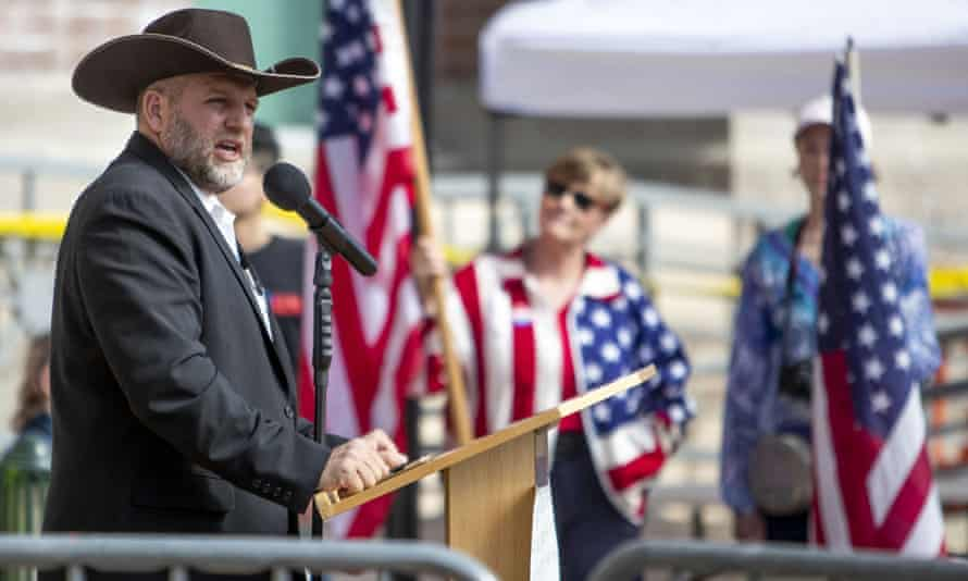 Ammon Bundy speaks to a crowd of about 50 in Boise on 3 April.
