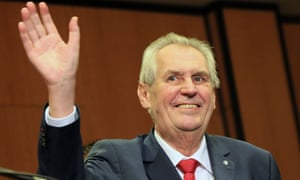 Miloš Zeman waves to the audience as he celebrates his victory with his staff members after he was reelected Czech President on 27 Januar.